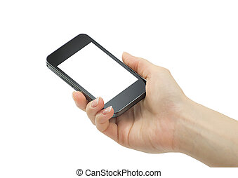 mobile phone - Hand holding mobile phone with blank screen