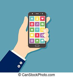Hand holding mobile phone with colorful application icons on the screen. Flat design concept.