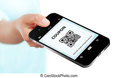 hand holding mobile phone with discount coupon isolated over whi