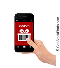 hand holding mobile phone with discount coupon isolated over...