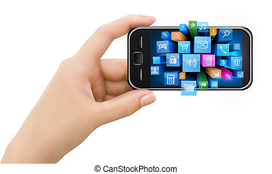 Hand holding mobile phone with icon