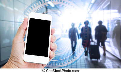 Hand holding mobile phone with internet of things on screen