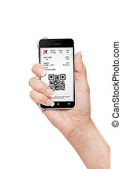 hand holding mobile phone with mobile boarding pass isolated...