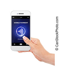hand holding mobile phone with mobile payment isolated over...