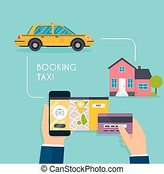 Hand holding mobile smart phone with mobile app search taxi. Booking online taxi responsive web design template. Flat design modern vector illustration concept.