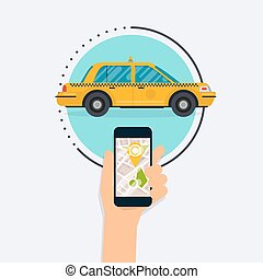 Hand holding mobile smart phone with mobile app search taxi. Vector modern flat creative info graphics design on public taxi service application. Flat design modern vector illustration concept.