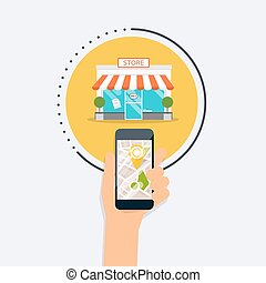 Hand holding mobile smart phone with mobile application search store. Find closest on city map. Flat design style modern vector illustration concept.
