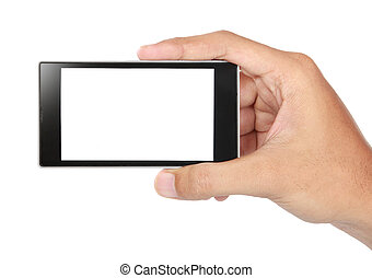 Hand holding mobile smart phone with blank screen