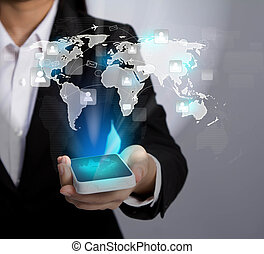 Hand holding Modern communication technology mobile phone show the social network