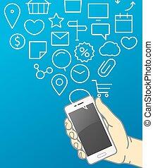 Hand holding modern smartphone. Communication concept