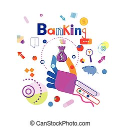 Hand Holding Money Bag Business Banking Concept Banner...