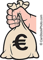 hand holding money bag (euro sign) - hand holding money bag...