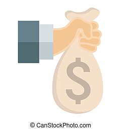 Hand holding money bag flat icon, business and finance, bank...