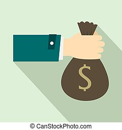 Hand holding money bag icon, flat style - Hand holding money...
