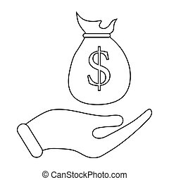 Hand holding money bag icon, outline style - Hand holding...