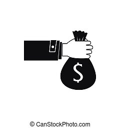 Hand holding money bag icon, simple style - Hand holding...