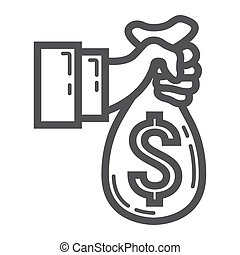 Hand holding money bag line icon, business finance - Hand...