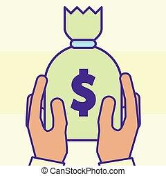 hand holding money bag treasure cartoon style