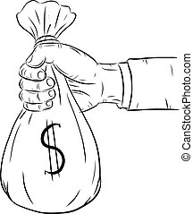 Hand holding money bag vector on white background.Hand with...