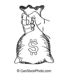 Hand holding money bag vector with line art sketch style. -...