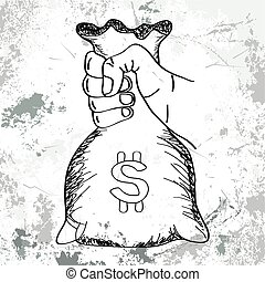 Hand holding money bag vector with line art sketch style...