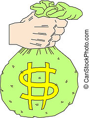 hand holding money bag with dollar