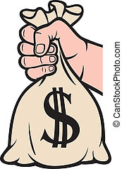 hand holding money bag with dollar sign (hand with a bag of...