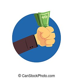 Hand holding money bills cartoon vector Illustration
