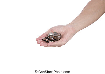 hand holding money coin isolated on white background. concept savings finance.