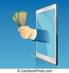 Hand holding money comes out from smartphone screen.
