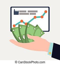 hand holding money dollar board chart