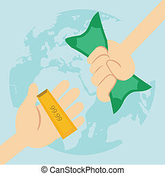 Hand holding money dollars