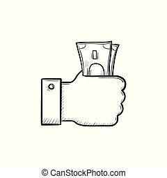 Hand holding money hand drawn outline doodle icon.