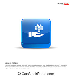 Hand holding money icon - 3d Blue Button