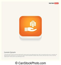 Hand holding money icon Orange Abstract Web Button