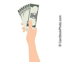 Hand Holding Money Isolated On White Background