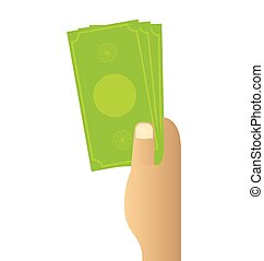 Hand holding money on white background