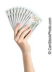 Hand holding money one hundred dollars banknotes