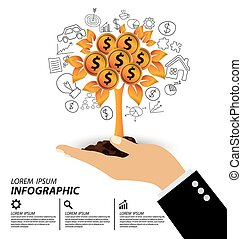 Hand holding Money tree. Financial and business concept....