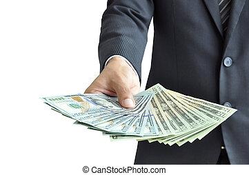 Hand holding money - United States dollar (USD) bills