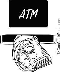 Hand holding money vector
