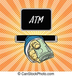 Hand holding money vector on halftone background.