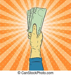 Hand holding money vector on halftone background