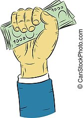 Hand holding money vector on white background.