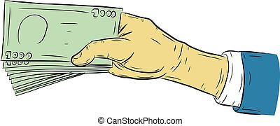 Hand holding money vector on white background