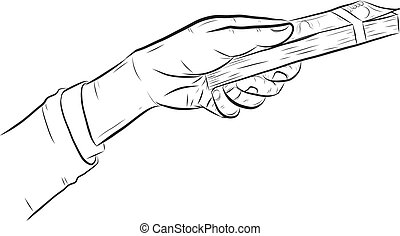 Hand holding money vector on whitebackground.