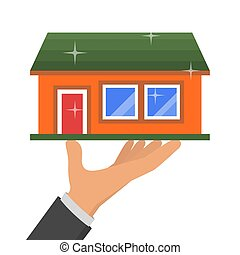 Hand holding new house, vector illustration