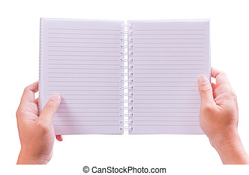 hand holding notebook isolated