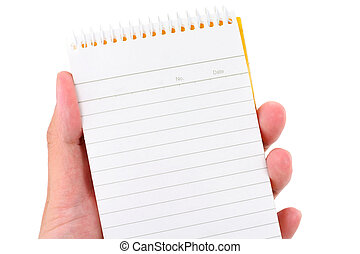 hand holding notepad with white background