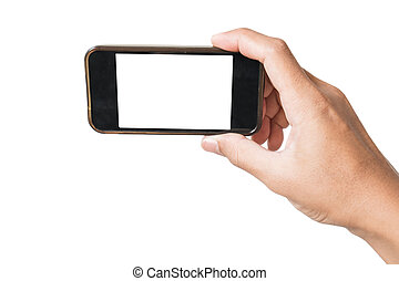 Hand holding old smartphone in selfie position, isolated on...